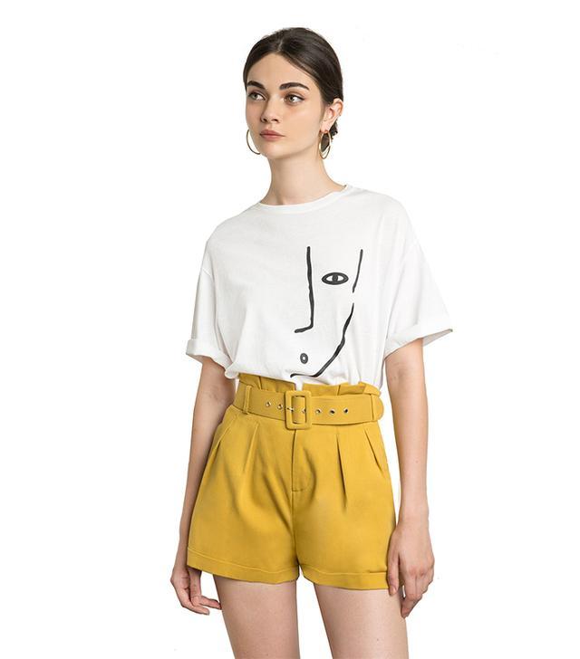 Pixie Market Sam Mustard Paperbag Waist Shorts