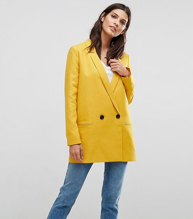 Tailored Double Breasted Mustard Blazer
