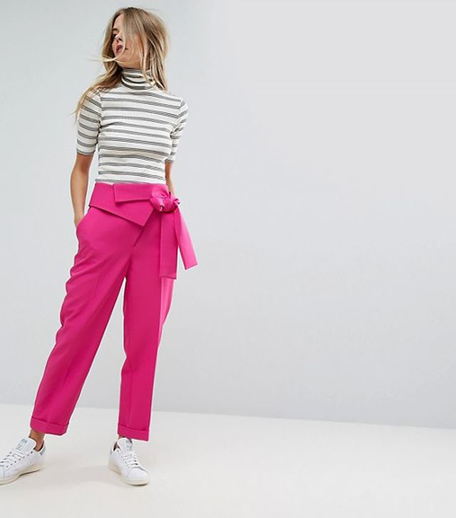 Pant with Origami Waist and Tie Detail