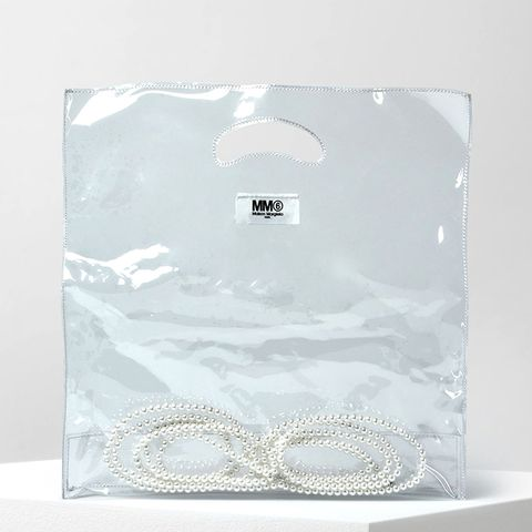 Transparent PVC Tote With Enclosed Faux Pearls