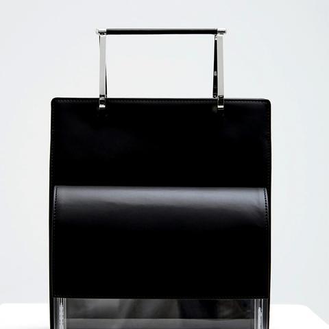 Black Calf Transparent Clutch With Tote