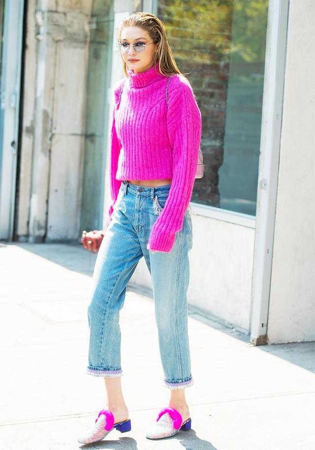 Gigi Hadid bright pink jumper