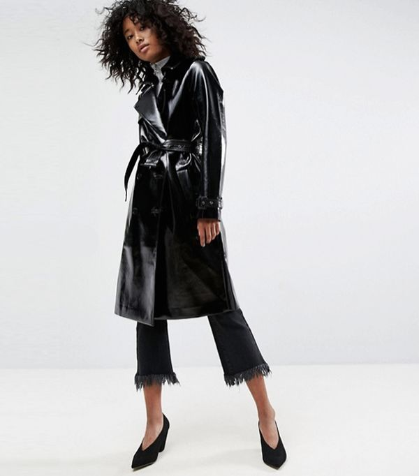 ASOS Black Trench Coat in Vinyl