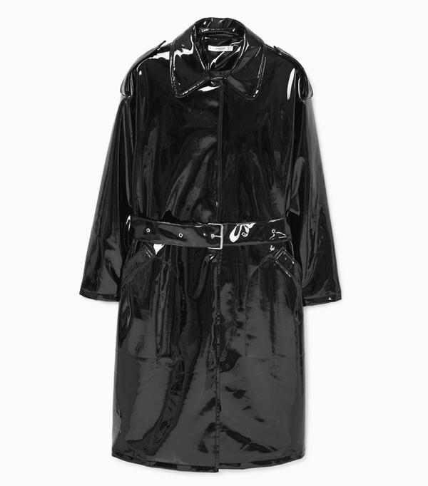 Mango Black Belt Vinyl Trench Coat