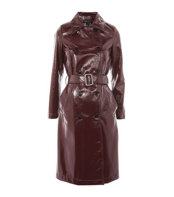 Topshop Burgundy Vinyl Trench Coat