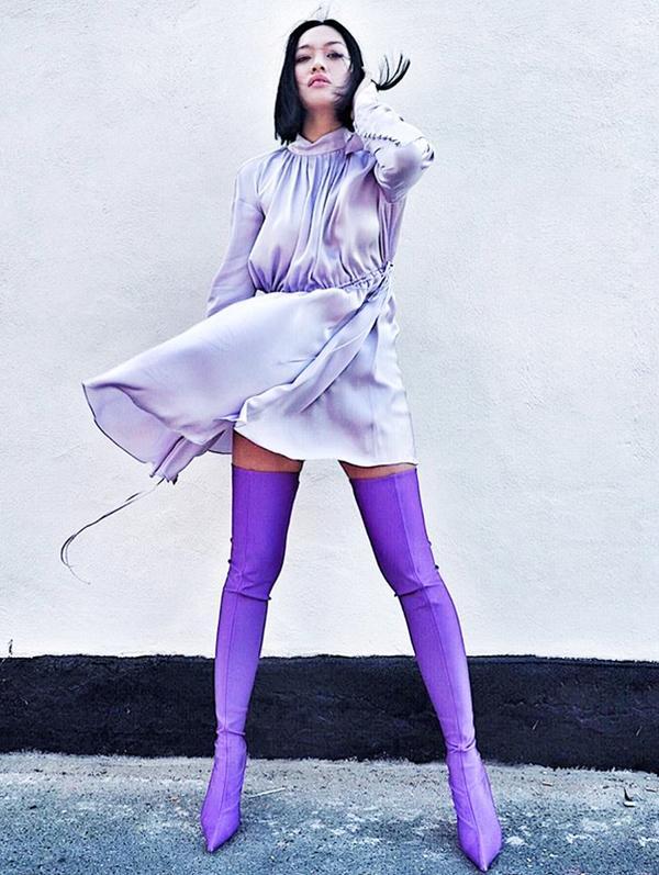 Tiffany Hsu style: Purple Balenciaga boots