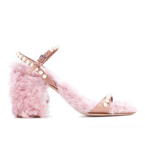 Faux Fur-Trimmed Satin Sandals