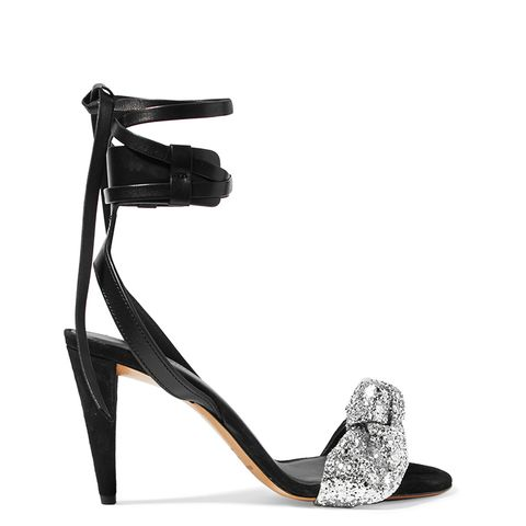 Glittered Leather and Suede Sandals