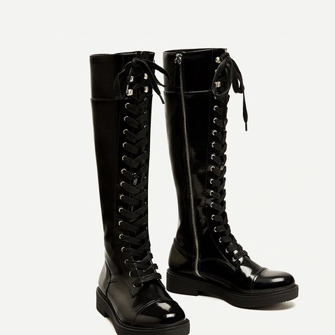 Lace-Up Flat Over-the-Knee Boots
