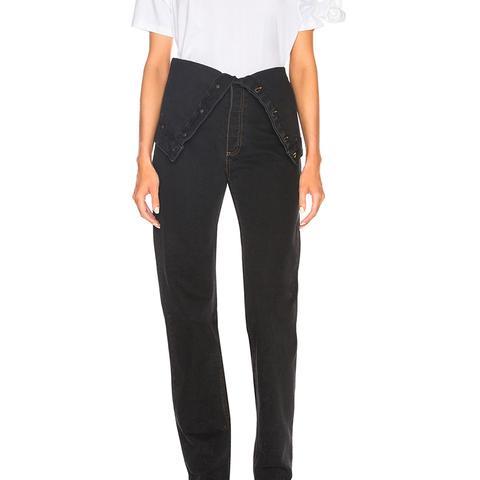 Foldover Waistband Jeans