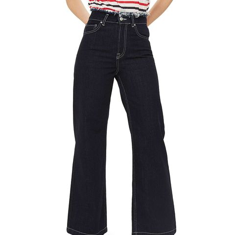 Frayed Waist Wide Leg Jeans