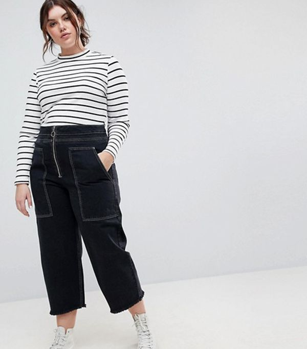 ASOS Curve Wide Leg Utility Jeans With Big Pockets and Contract Stitch in Black