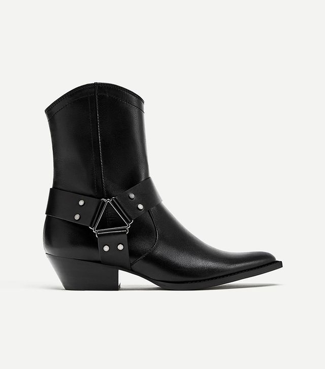 Zara Leather Cowboy Style Ankle Boot