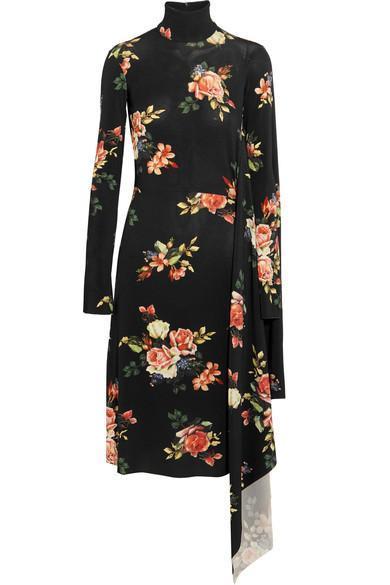 Open-back Floral-print Stretch-jersey Dress