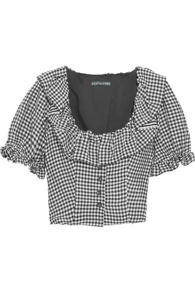 Cropped Ruffled Gingham Crepe Top
