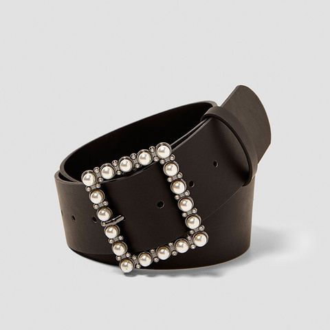 Belt With Shiny Faux Pearls On Buckle