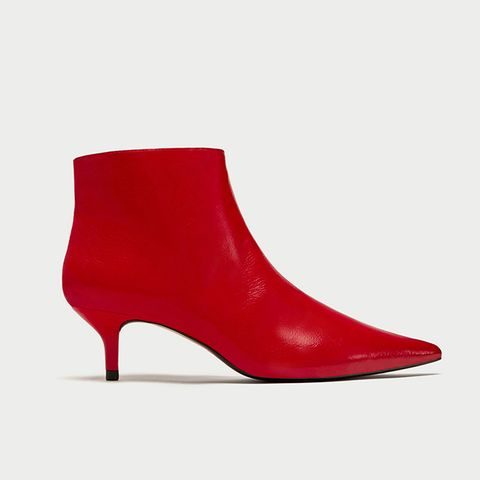 Red Mid-Heel Ankle Boot