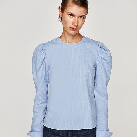 Shirt With Puffy Sleeves and Pearl Button