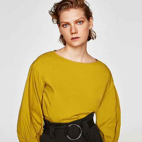 Poplin Top With Puffy Sleeves