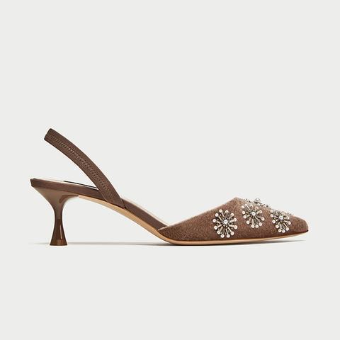 Embroidered Velvet Slingback Shoes