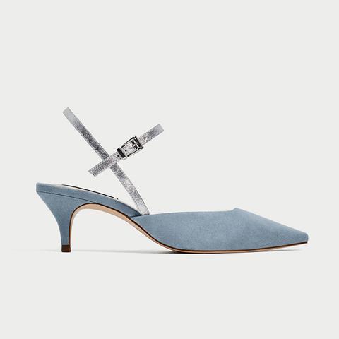 Contrasting Slingback Heeled Shoes