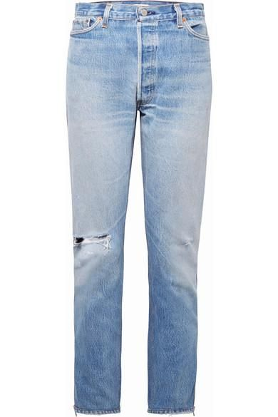 Levi's Zip-embellished Distressed High-rise Straight-leg Jeans
