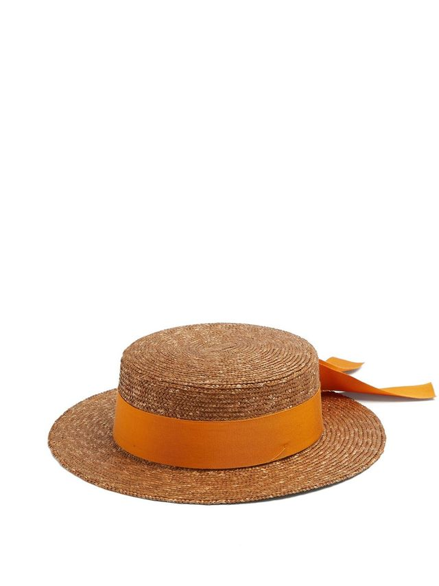Ribbon-embellished flat top straw hat