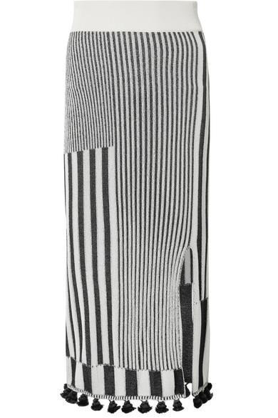 Spire Tasseled Ribbed Stretch-knit Skirt