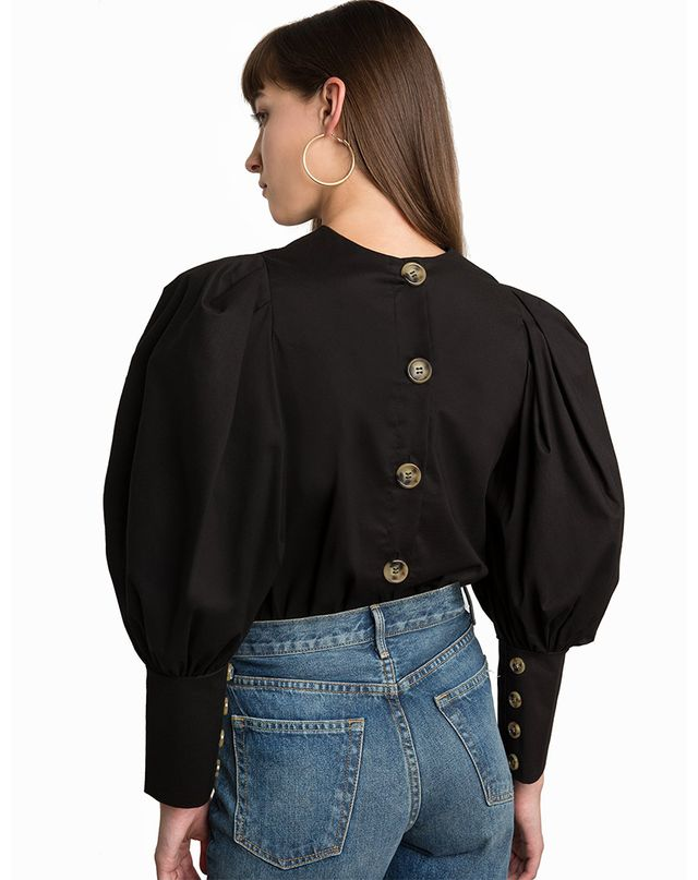 Pixie Market Taylor Black Puffy Sleeve Button Shirt