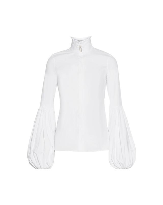 Caroline Constas Jacqueline Ruffled Stretch Cotton-Blend Blouse