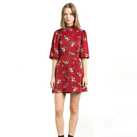 Red Floral Zip Front Fit-and-Flare Dress