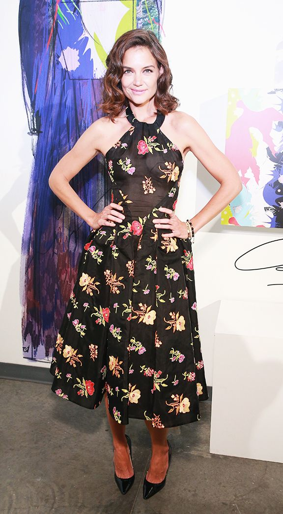 Katie Holmes Style: sheer halterneck dress by Zac Posen