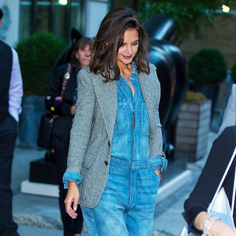 Katie Holmes Style: Denim jumpsuit and grey jacket