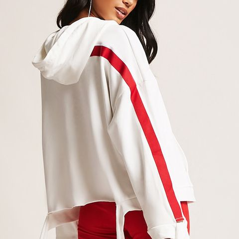Self-Tie Sleeve Striped Hoodie