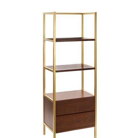 """68"""" Antwerp Bookcase With Storage Walnut"""