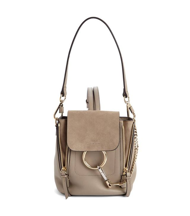 Mini Faye Leather & Suede Backpack - Brown
