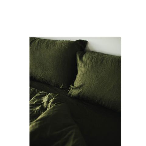 Olive Linen Bedding Set