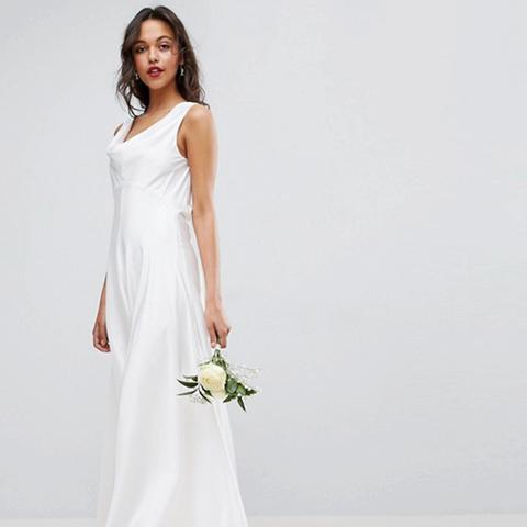 Bridal Soft Drape Front Maxi Dress