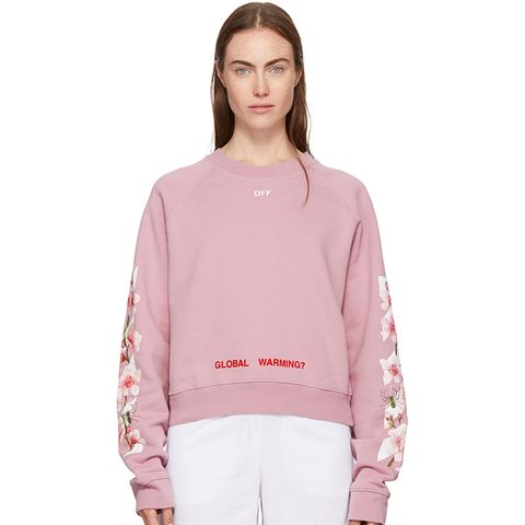 Pink Diagonal Cherry Crop Sweatshirt