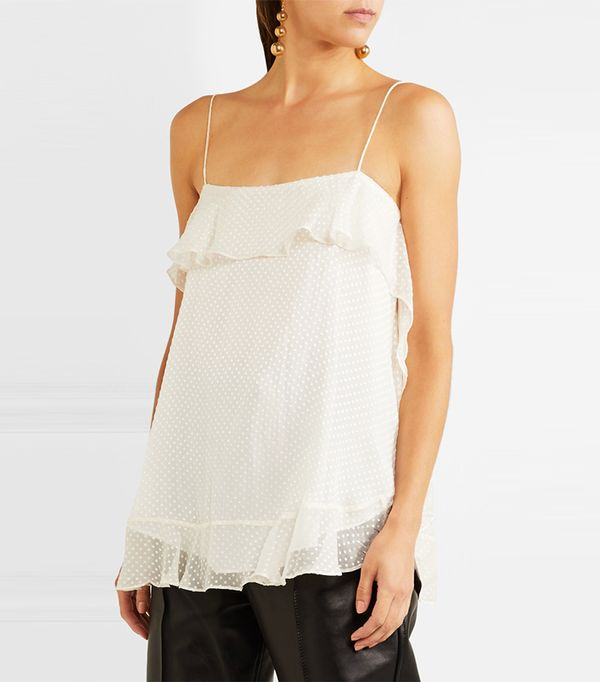 Folly Ruffled Silk-blend Chiffon Camisole