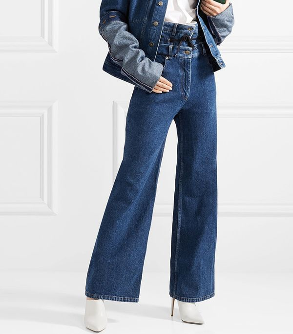 Layered Faux Shearling-lined High-rise Wide-leg Jeans