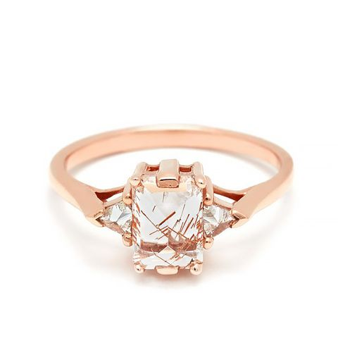Bea Three Stone Ring in Rose Gold and Copper Rutilated Quartz