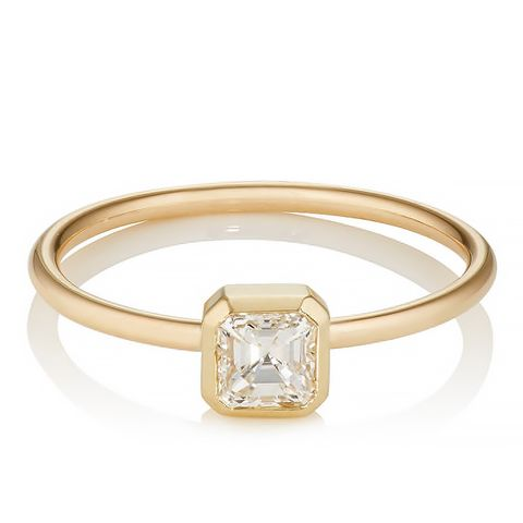 Asscher-Cut White Diamond Ring