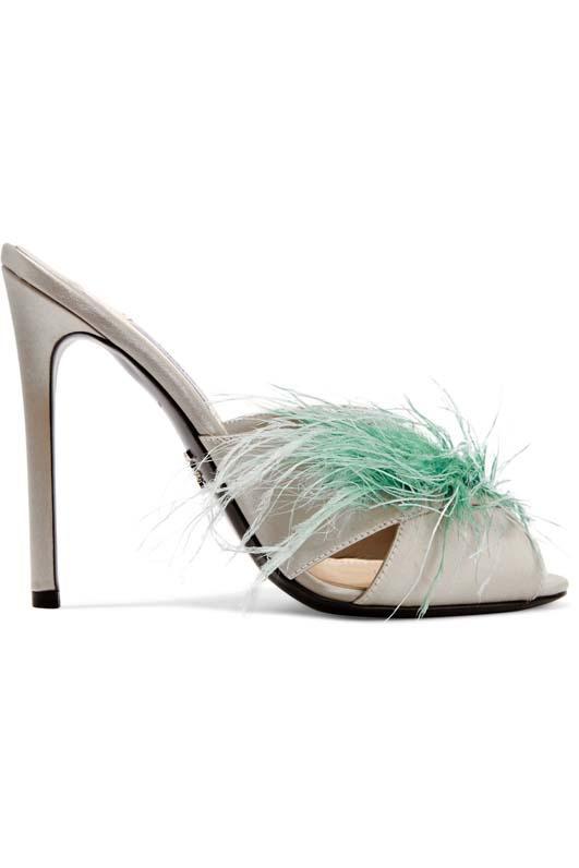 Feather-embellished Satin Mules