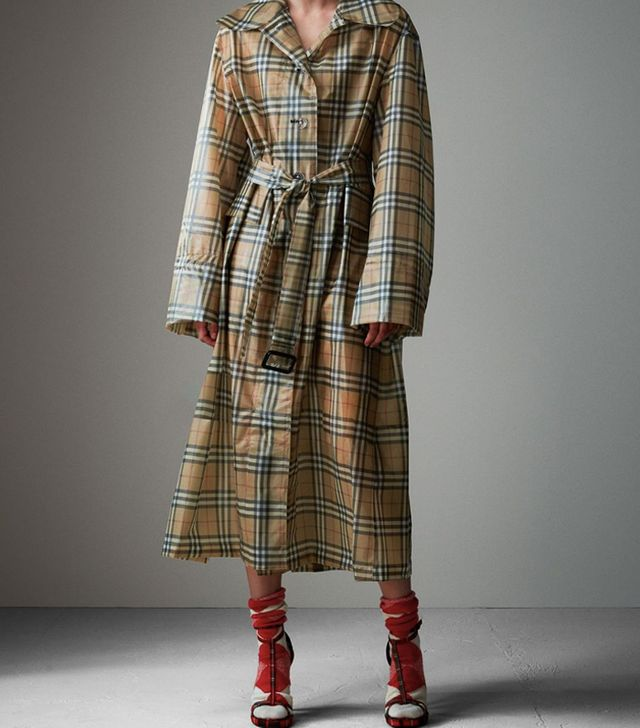 Burberry's September 2017 Show: Burberry Vintage Check Soft-Touch Plastic Single-Breasted Coat