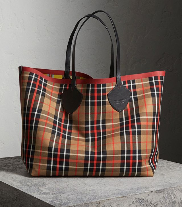 Burberry's September 2017 Show: Burberry The Giant Reversible Tote in Tartan Cotton