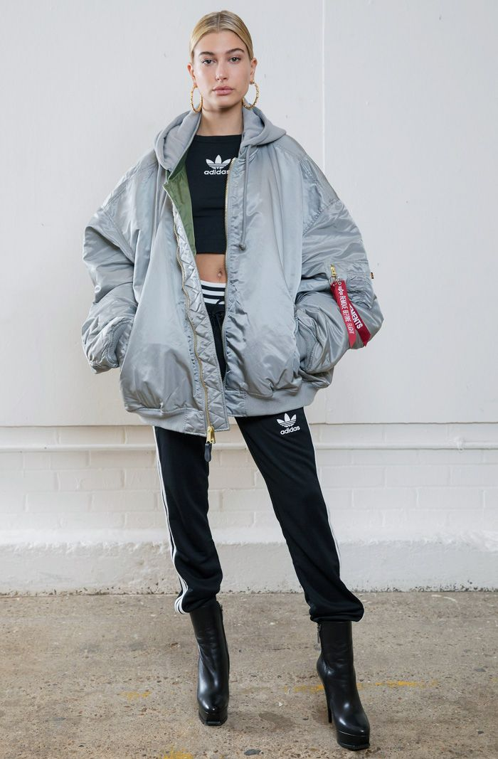 Hailey Baldwin in Adidas EWT