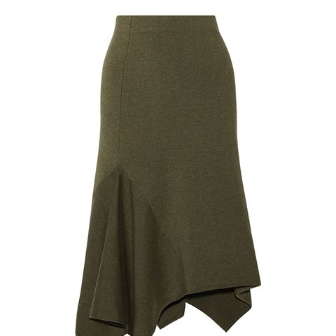 Asymmetric Stretch Wool-Blend Skirt