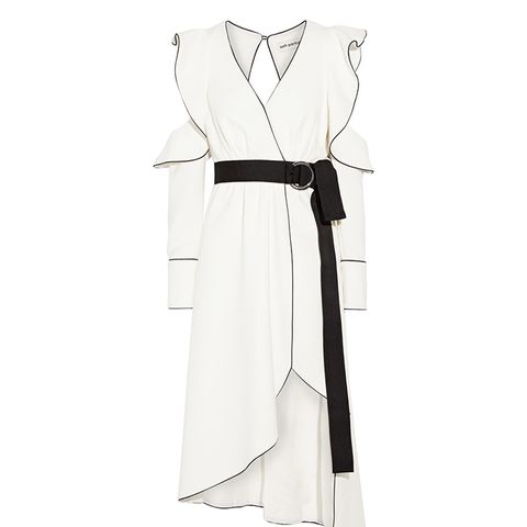 Cold-Shoulder Wrap-Effect Crepe Dress