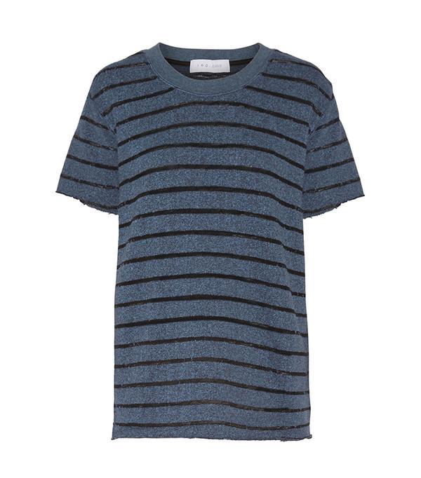 - Striped Cotton-blend T-shirt - Blue